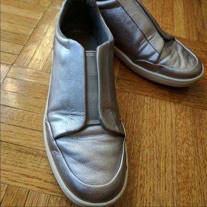 Zara silver metallic sneakers